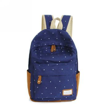 Ladies Canvas Backpacks Women New Fashion Dot Students Shoulder Bags Female Teenage Backpacks For Girls Backpack