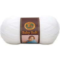 Babysoft White Yarn, Lion Brand, Crochet Knitting Needlecraft Yarn, Craft Supply