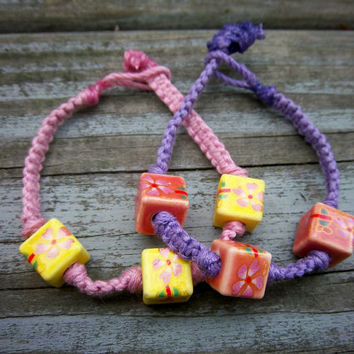 Pastel Colors Square Knot Bamboo Cord Ceramic Bracelet Christmas in July