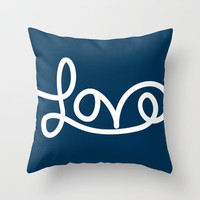 Love - Navy Throw Pillow by PrintableWisdom | Society6