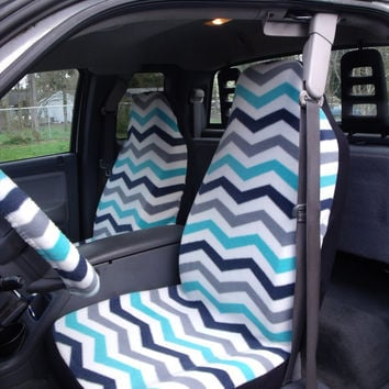 1 Set of Large Chevron Print Seat Covers and steering wheel cover Custom made.
