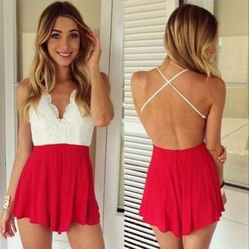 Womens Stylish Lace Backless Romper