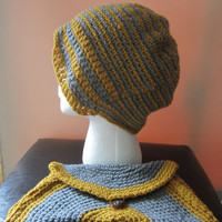Chantelle - Yellow/Grey Cloche Hat and Clutch Purse