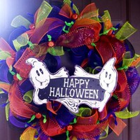 Deco Mesh Halloween Wreath for Front Door by WeHaveWreaths on Zibbet