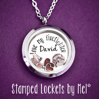 Love my firefighter - Hand Stamped Stainless Steel Locket - Fire Fighter Wife Necklace - Floating Memory Jewelry - Fireman's Girlfriend