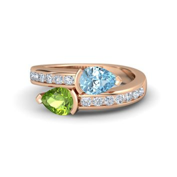 Pear Peridot 14K Rose Gold Ring with Aquamarine & Diamond