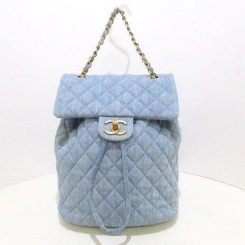Auth CHANEL Matelasse A91121 Light Blue Denim & Leather Backpack Gold Hardware