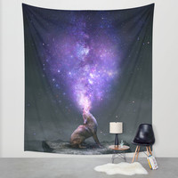 All Things Share the Same Breath (Coyote Galaxy) Wall Tapestry by Soaring Anchor Designs