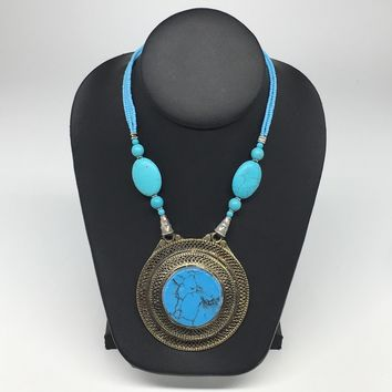 Turkmen Necklace Antique Afghan Tribal Turquoise Inlay Beaded ATS Necklace VS87