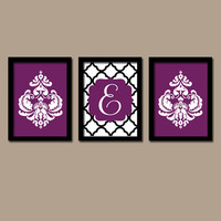 Purple Black Monogram Wall Art Canvas DAMASK Plum Artwork Girl Child Quatrefoil Trellis Letter Initial Set of 3 Prints Decor Bedroom Three