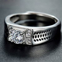 Mens Womens Old Silver Adjustment Ring with Diamond Fashion Casual Jewelry Best Gift Rings-067
