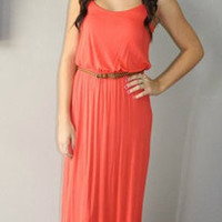 Coral Maxi Dress W/Brown Belt