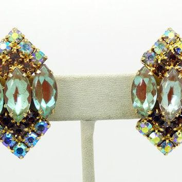 Vintage Juliana Saphiret AB Rhinestone Clip Earrings