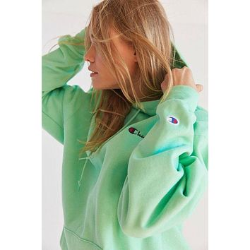"""Champion"" Popular Classic Women Mini Logo  Long Sleeve Hoodie Sweatshirt Pullover Top - Mint Green I"