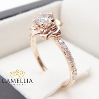 Flower Rose Unique Engagement Ring Right Hand Diamond Ring 14K Rose Gold Band Special Gift