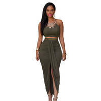 Summer Women Olive Faux Suede Two Piece Set O-Neck Bustier Crop Top And  Maxi Skirt Set LC60833 Ensemble Jupe Et Haut Sexy