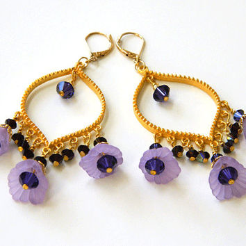 Lavender and Purple Lucite Flower Earrings Handcrafted Chandelier Gold