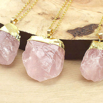 Rose Quartz Necklace, Gold Rose Quartz Necklace, Raw Quartz Necklace, Gemstone Necklace, Crystal Necklace, Boho Necklace, FREE US SHIPPING!