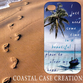 Apple iPhone 4 4G 4S 5G Hard Plastic Cell Phone Case Cover Original Trendy Stylish Beach Palm Trees Quote Design