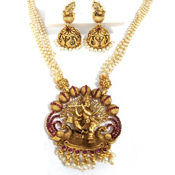 Multi stranded pearl chain with Traditional Lord Krishna Pendant necklace and jhumka earring set