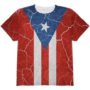 DCCKU3R Distressed Puerto Rican Flag All Over Youth T Shirt