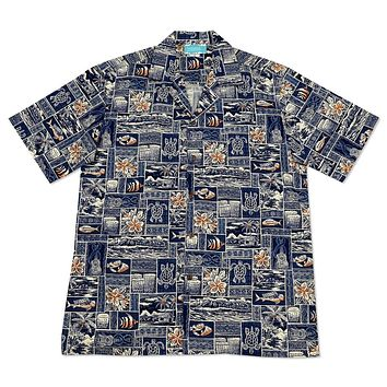 island life blue hawaiian cotton shirt