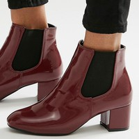 Daisy Street Burgundy Patent Chelsea Boots