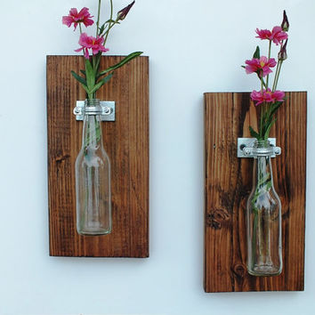 Handmade Hanging glass bottle Vase Set of 2 / Dark Stained Home Decor / Wall Jar / Flower Plant Holder / Shabby Country Sconce