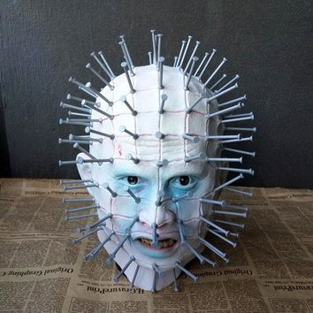 Horror Movie Thriller Hellraiser Pinhead Cosplay Masks Zombie Scary Horrible Latex Full Head Props Fancy Ball Party Halloween