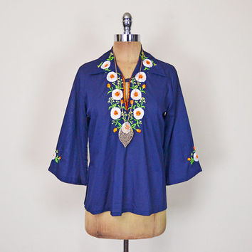 Vintage 70s Navy Blue Mexican Shirt Mexican Top Mexican Blouse Mexican Tunic Mexican Embroider Blouse Bell Sleeve 70s Hippie Boho S Small
