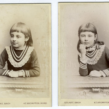 2 CDV Photos Victorian Young Pretty Little Girl (or Twins?), Lace Collar, Natural Posed Portraits - London - Antique Carte de Visite