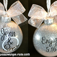 Great Engagement Gift Idea. Christmas Ornament for Engagement / Engaged Couple. Glass.