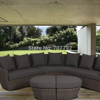 Hot Sale Curved Corner Suite with Lounge Chair Light Brown