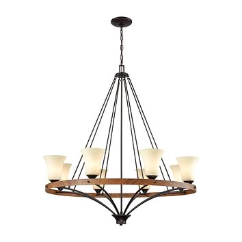 Park City 8 Light Chandelier In Oil Rubbed Bronze,Wood Grain And Light Beige Scavo Glass