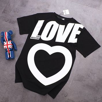 MOSCHINO Trending Couple Casual Heart Love Print Round Collar T-Shirt Top Tee Black