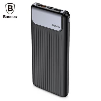 Baseus Portable Thin Digital 10000mAh Power Bank QC 3.0 Dual USB Powerbank Slim External Battery Charger