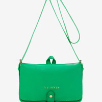 Leather stab stitch bag - Dark Green | Bags | Ted Baker ROW
