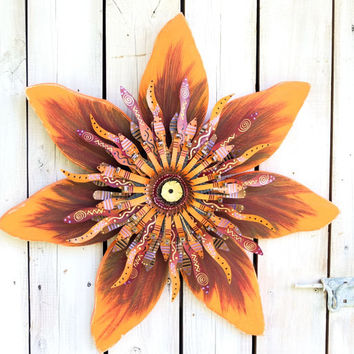 Orange Brown Sunflower Wreath~ Outdoor Fall Decor~ Orange & Burgundy  Wooden Flower~ Autumn Yard Decoration~ Fall Wood Yard Art