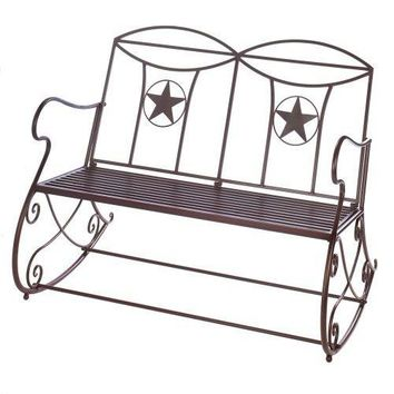 Cast Iron Lone Star Outdoor Rocking Bench