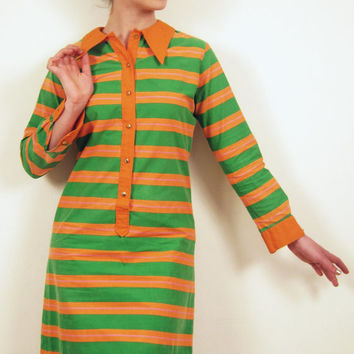 Vintage 1960s Shirtdress in Orange Green Stripes / 60s Long Sleeved Day Dress by Park East