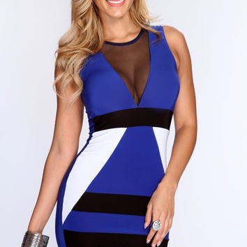 Blue V-Neck Mesh Sleeveless Bodycon Dress