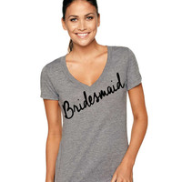 Bridesmaid Tri-Blend Deep V-Neck shirt, Bride shirt, Wifey Shirt, Bridal Shirt, Bridal Shower Gift, Wedding, Bachlorette Gift, Groom Shirt