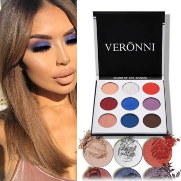 VERONNI Brand 9 Colors Matte Eyeshadow Palette Shimmer Glitter Pressed Powder Palette Makeup Beauty Holiday Type Eyeshadow