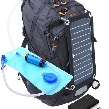 SolarSak water filtering solar hydration backpack w/ 10,000mah battery pack/7W SUN PIECE panel and SUN STRAW filter