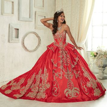 Quinceanera Collection - 26842 Metallic Embroided Sweetheart Ballgown