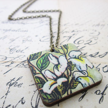 Floral Woodcut Necklace -   Wooden White Lily Flower Pendant