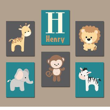 BOY Animal Wall Art, Boy Safari Animal Nursery, Jungle Safari Animals, Baby Boy Nursery Decor, Boy Wall Decor, Canvas or Prints Set of 6