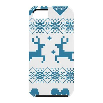 Natt Knitting Blue Deer With Hearts Cell Phone Case