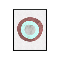Printable Art Gift, Geometric Print, Marble Print, Abstract Art, Blue and Grey Geometric, Circle Decor, Minimal Modern, Circle Digital Print