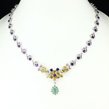 A Vintage 14K White Gold 164.21CT Yellow Citrine Purple Amethyst Green Emerald and Red Ruby Necklace